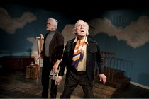 ARTIST DESCENDING A STAIRCASE   by Tom Stoppard   design: Nicky Bunch   lighting: James Smith   director: Michael Gieleta ~l-r: Edward Petherbridge (Donner, older), Jeremy Child (Beauchamp, older)   ~...