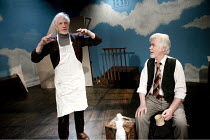 ARTIST DESCENDING A STAIRCASE   by Tom Stoppard   design: Nicky Bunch   lighting: James Smith   director: Michael Gieleta ~l-r: Edward Petherbridge (Donner, older), David Weston (Martello, older)~Old...