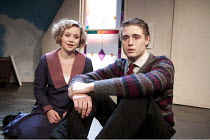 ARTIST DESCENDING A STAIRCASE   by Tom Stoppard   design: Nicky Bunch   lighting: James Smith   director: Michael Gieleta ~Olivia Darnley (Sophie), Max Irons (Donner, younger)~Old Red Lion, London N1...