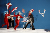 THE CAT IN THE HAT   by Dr Seuss   adapted for the stage & directed by Katie Mitchell   design: Vicki Mortimer   lighting: Jon Clark ~front l-r: Sandra Guerreiro (Thing 2), Luisa Guerreiro (Thing 1),...