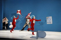 THE CAT IN THE HAT   by Dr Seuss   adapted for the stage & directed by Katie Mitchell   design: Vicki Mortimer   lighting: Jon Clark ~l-r: Helena Lymbery (Sally), Mark Arends (The Boy), Sandra Guerrei...