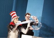 THE CAT IN THE HAT   by Dr Seuss   adapted for the stage & directed by Katie Mitchell   design: Vicki Mortimer   lighting: Jon Clark ~l-r: Angus Wright (The Cat in the Hat), Justin Salinger (Fish in t...