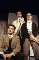 ARTIST DESCENDING A STAIRCASE   by Tom Stoppard   set design: Martin Chitty   costumes: Tim Heywood   director: Tim Luscombe ~l-r: John Warnaby (Donner, younger), Gareth Tudor Price (Beauchamp, younge...