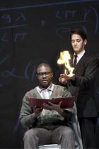 DOCTOR FAUSTUS   by Marlowe   design: David Crisp   lighting: Rachel Francis   director: Joss Bennathan ~l-r: Simon Rivers (Mephistopheles), Babou Ceesay (Doctor Faustus)~Present Moment / Stratford Ci...