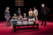 SIX DEGREES OF SEPARATION   by John Guare   design: Jonathan Fensom   lighting: Jason Taylor   director: David Grindley ~far left: Lesley Manville (Ouisa)   far right: Anthony Head (Flan)~Old Vic Thea...