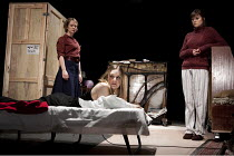 THREE SISTERS   by Chekhov   in a version by Christopher Hampton   design: Jon Bausor   lighting: Paule Constable   director: Sean Holmes & Filter ~l-r: Poppy Miller (Olga), Romola Garai (Masha), Clar...
