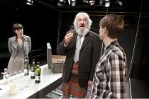 THE WHISKY TASTER   by James Graham   set & lighting design: Lucy Osborne & James Farncombe   director: James Grieve   l-r: Kate O'Flynn (Nicola), John Stahl (The Whisky Taster), Samuel Barnett (Barn...