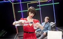 THE WHISKY TASTER   by James Graham   set & lighting design: Lucy Osborne & James Farncombe   director: James Grieve   Kate O'Flynn (Nicola), Samuel Barnett (Barney)    Bush Theatre, London W12...