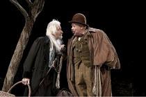 WAITING FOR GODOT   by Samuel Beckett   design: Stephen Brimson Lewis   lighting: Paul Pyant   director: Sean Mathias ~~l-r: Ronald Pickup (Lucky), Matthew Kelly (Pozzo)~Theatre Royal Haymarket (TRH),...