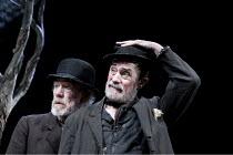 WAITING FOR GODOT   by Samuel Beckett   design: Stephen Brimson Lewis   lighting: Paul Pyant   director: Sean Mathias ~~l-r: Ian McKellen (Estragon), Roger Rees (Vladimir)  ~Theatre Royal Haymarket (T...