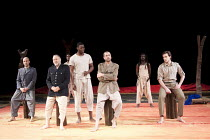 front, l-r: Antonio Gil Martinez, Makram J Khoury, Tunji Lucas, Khalifa Natour, Maximilien Seweryn in 11 and 12 at the Barbican Theatre, London EC2  10/02/2010  a Théâtre des Bouffes du Nord produc...