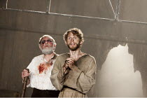 KING LEAR   by Shakespeare   design: Jon Bausor   lighting: Jon Clark   director: David Farr ~l-r: Geoffrey Freshwater (Earl of Gloucester), Charles Aitken (Edgar)~Royal Shakespeare Company (RSC) / Co...