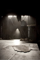 KING LEAR   by Shakespeare   design: Jon Bausor   lighting: Jon Clark   director: David Farr ~stage   set   empty~Royal Shakespeare Company (RSC) / Courtyard Theatre, Stratford-upon-Avon, England   02...