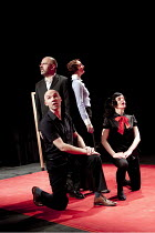 The Catastrophe Trilogy - DANIEL HIT BY A TRAIN   clockwise from front left: Antoine Fraval, Guy Dartnell, Nina Tecklenburg, Molly Haslund Lone Twin Theatre / bite10 / The Pit / Barbican Centre, Lon...