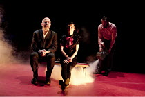 The Catastrophe Trilogy - DANIEL HIT BY A TRAIN   l-r: Guy Dartnell, Molly Haslund, Paul Gazzola Lone Twin Theatre / bite10 / The Pit / Barbican Centre, London EC2   03/03/2010