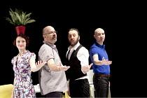 The Catastrophe Trilogy - THE FESTIVAL   l-r: Nina Tecklenburg, Guy Dartnell, Paul Gazzola, Antoine Fraval  Lone Twin Theatre / bite10 / The Pit / Barbican Centre, London EC2   04/03/2010