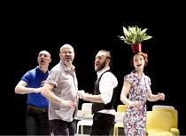 The Catastrophe Trilogy - THE FESTIVAL   l-r: Antoine Fraval. Guy Dartnell, Paul Gazzola, Nina Tecklenburg Lone Twin Theatre / bite10 / The Pit / Barbican Centre, London EC2   04/03/2010