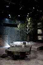 THE GODS WEEP   by Dennis Kelly   design: Naomi Dawson   lighting: David Holmes   director: Maria Aberg ~stage   empty   set   tree~Royal Shakespeare Company (RSC) / Hampstead Theatre, London NW3   17...