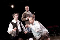 THE TEMPEST   by Shakespeare   design: Harriet de Winton   lighting: Matthew Graham   director: Andrew Hilton   l-r: Chris Donnelly (Stephano), (rear) Felix Hayes (Trinculo), Christopher Staines (Cal...