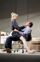 THE REAL THING   by Tom Stoppard   design: Lez Brotherston   lighting: Hugh Vanstone  director: Anna Mackmin ~Hattie Morahan (Annie), Toby Stephens (Henry)~Old Vic Theatre, London SE1...
