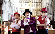 SOUTHWARK MYSTERIES   by John Constable   director: Sarah Davey-Hull   l-r: Simon Jermond (Beelzebub), Daniel Copeland (Satan), Tom Baker (Abaddon) Southwark Cathedral, London SE1                 22...