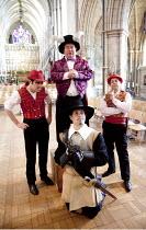 SOUTHWARK MYSTERIES   by John Constable   director: Sarah Davey-Hull   rear, l-r: Tom Baker (Abaddon), Daniel Copeland (Satan), Simon Jermond (Beelzebub)   kneeling: Oliver Langdon (Cromwell) Southw...