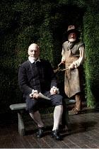 BINGO   by Edward Bond   design: Robert Innes Hopkins   lighting: Tim Mitchell   director: Angus Jackson ~~l-r: Patrick Stewart (William Shakespeare), John McEnery (Old Man)~Minerva Theatre / Chichest...