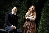 BINGO   by Edward Bond   design: Robert Innes Hopkins   lighting: Tim Mitchell   director: Angus Jackson ~~Patrick Stewart (William Shakespeare), Michelle Tate (Young Woman)~Minerva Theatre / Chichest...