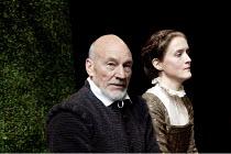 BINGO   by Edward Bond   design: Robert Innes Hopkins   lighting: Tim Mitchell   director: Angus Jackson ~~Patrick Stewart (William Shakespeare), Catherine Cusack (Judith)~Minerva Theatre / Chichester...