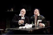 BINGO   by Edward Bond   design: Robert Innes Hopkins   lighting: Tim Mitchell   director: Angus Jackson ~~l-r: Patrick Stewart (William Shakespeare), Richard McCabe (Ben Jonson) ~Minerva Theatre / Ch...