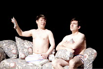 CANARY   by Jonathan Harvey   design: Liz Ashcroft   lighting: Colin Grenfall   director: Hettie Macdonald ~l-r: Kevin Trainor (Billy), Philip McGinley (Younger Tom)~Liverpool Playhouse, Liverpool   E...