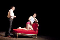 CANARY   by Jonathan Harvey   design: Liz Ashcroft   lighting: Colin Grenfall   director: Hettie Macdonald ~l-r: Sean Gallagher (Older Russell), Ben Allen (Toby)~Liverpool Playhouse, Liverpool   Engla...