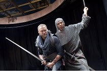 MACBETH   by Shakespeare   design: Katrina Lindsay   director: Lucy Bailey ~l-r: Elliot Cowan (Macbeth), Christian Bradley (Banquo)~Shakespeare's Globe (SG), London SE1  29/04/2010~(c) Donald Cooper/P...
