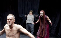 MACBETH   by Shakespeare   design: Katrina Lindsay   director: Lucy Bailey ~l-r: Elliot Cowan (Macbeth), Frank Scantori (Porter), Karen Anderson (Witch 3) ~Shakespeare's Globe (SG), London SE1  29/04/...