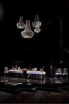 WOMEN BEWARE WOMEN   by Thomas Middleton   design: Lez Brotherston   lighting: Neil Austin   director: Marianne Elliott ~stage   set   empty   props   chandeliers~Olivier Theatre / National Theatre (N...