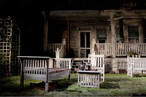 ALL MY SONS   by Arthur Miller   design: William Dudley   lighting: Mark Henderson   director: Howard Davies ~~stage   set   garden   grass   empty~Apollo Theatre, London W1    27/05/2010