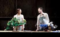 FAR AWAY   by Caryl Churchill   design: Lizzie Clachan   lighting: James Farncombe   director: Simon Godwin ~ ~Cara Horgan (Joan), Tristan Sturrock (Todd) ~Bristol Old Vic (BOV) / Bristol, England...