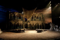 WELCOME TO THEBES   by Moira Buffini   design: Tim Hatley   lighting: Neil Austin   director: Richard Eyre ~stage   set   empty~Olivier Theatre / National Theatre (NT), London SE1        22/06/2010