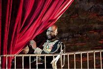OTHELLO  by Shakespeare  design: Philip Witcomb  lighting: John Tapster  director: Ben Crocker ~spying on Desdemona: Christopher Obi (Othello)~Ludlow Festival, Ludlow Castle, England  28/06/2010 ~(c)...