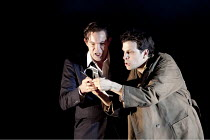 DON GIOVANNI   by Mozart   conductor: Vladimir Jurowski   design: Paul Brown   lighting: Mark Henderson   director: Jonathan Kent  ~l-r: Gerald Finley (Don Giovanni), Luca Pisaroni (Leporello)~Glyndeb...