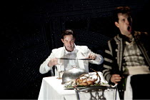 DON GIOVANNI   by Mozart   conductor: Vladimir Jurowski   design: Paul Brown   lighting: Mark Henderson   director: Jonathan Kent  ~final scene - l-r: Gerald Finley (Don Giovanni), Luca Pisaroni (Lepo...