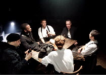 LIGHT SHINING IN BUCKINGHAMSHIRE   by Caryl Churchill   design: Hannah Clark   lighting: Matthew Pitman   director: Polly Findlay ~clockwise from left: Philip Arditti (Wildman), Kobna Holdbrook-Smith...
