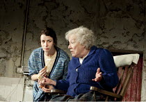 THE BEAUTY QUEEN OF LEENANE   by Martin McDonagh   design: Ultz   lighting: Charles Balfour   director: Joe Hill-Gibbins ~l-r: Susan Lynch (Maureen Folan), Rosaleen Linehan (Mag Folan)~The Young Vic (...