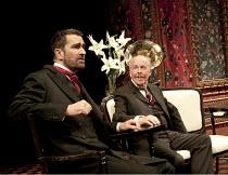 PYGMALION   by Bernard Shaw   design & direction: Philip Prowse   lighting: Gerry Jenkinson ~~l-r: Rupert Everett (Professor Henry Higgins), Peter Eyre (Colonel Pickering)~Chichester Festival Theatre...