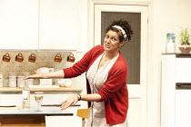 SHIRLEY VALENTINE   by Willy Russell   design: Peter McKintosh   lighting: Paul Anderson   director: Glen Walford ~Meera Syal (Shirley)~Menier Chocolate Factory production / Trafalgar Studios 1, Londo...
