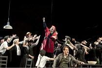 LA FORZA DEL DESTINO   by Verdi   conductor: Stuart Stratford   design: Alison Chitty   lighting: Mark Jonathan   director: Martin Duncan   centre: Carole Wilson (Preziosilla)   front right: Mark Sto...