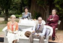 PRIVATE LIVES   by Noel Coward   costumes: Adrian Lillie   director: Nicholas Green ~l-r: Sophie Franklin (Sybil), Pandora Clifford (Amanda), Christopher Jordan (Victor), Rodney Matthew (Elyot)~Oxford...