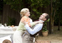 PRIVATE LIVES   by Noel Coward   costumes: Adrian Lillie   director: Nicholas Green ~Sophie Franklin (Sybil), Christopher Jordan (Victor)~Oxford Shakespeare Company / Wadham College Gardens, Oxford, E...