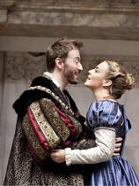 ANNE BOLEYN   by Howard Brenton   design: Michael Taylor   director: John Dove   Anthony Howell (King Henry VIII). Miranda Raison (Anne Boleyn) Shakespeare's Globe (SG), London SE1          28/07/20...