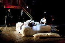 OTHELLO  by Shakespeare  design: Philip Witcomb  lighting: John Tapster  director: Ben Crocker  V/ii - final scene - rear: Jeffery Harmer (Duke of Venice), Damien Matthews (Cassio)   on bed: Emily Pe...